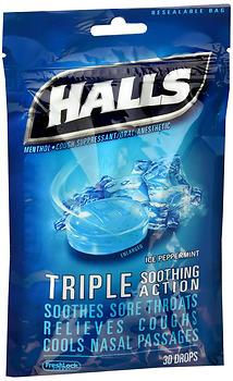 HALLS C/DRP ICE PEPPRMNT BAG