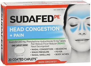 SUDAFED PE HD CGSTN+PAIN 20